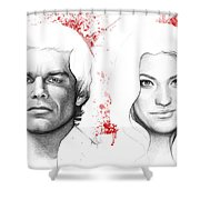 Dexter and Debra Morgan Shower Curtain by Olga Shvartsur