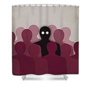 Different And Alone In Crowd Shower Curtain by Boriana Giormova