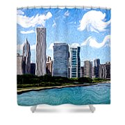 Digitial Painting Of Downtown Chicago Skyline Shower Curtain by Paul Velgos