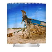 Dilapidated Boat At Ferragudo Beach Algarve Portugal Shower Curtain by Amanda And Christopher Elwell