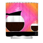 Diner Coffee Pot And Cup Sorbet Shower Curtain by Andee Design