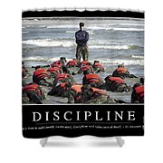 Discipline Inspirational Quote Shower Curtain by Stocktrek Images