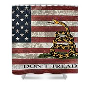 Do Not Tread On Us Flag Shower Curtain by Daniel Hagerman