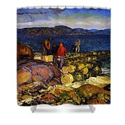 Dock Builders Shower Curtain by George Wesley Bellows