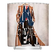 Doctor Who Inspired Tenth Doctor's Typographic Artwork Shower Curtain by Ayse Deniz