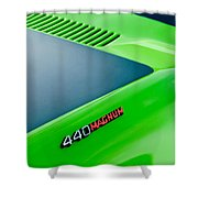 Dodge Challenger 440 Magnum RT Hood Emblem Shower Curtain by Jill Reger