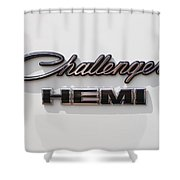 Dodge Challenger Hemi Emblem Shower Curtain by Jill Reger