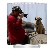 Dog Being Photographed Shower Curtain by Terri Waters