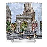 Dog Walking At Washington Square Park Shower Curtain by Randy Aveille