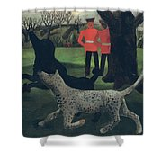 Dogs At Play Shower Curtain by Christopher Wood