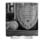 Dom Perignon In Black And White Shower Curtain by Paul Ward