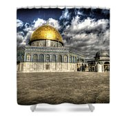 Dome Of The Rock Closeup Hdr Shower Curtain by David Morefield