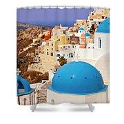 Domes Of Santorini Shower Curtain by Brian Jannsen