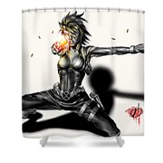 Domino Shower Curtain by Pete Tapang