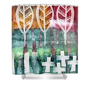 Done Too Soon Shower Curtain by Linda Woods