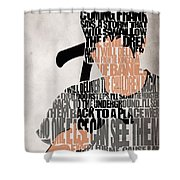 Donnie Darko Minimalist Typography Artwork Shower Curtain by Ayse Deniz