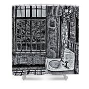 Dormer Bathroom Side View Bw Shower Curtain by Susan Candelario