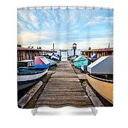 Dory Fishing Fleet Newport Beach California Shower Curtain by Paul Velgos
