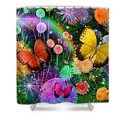 Double Dahlia Flower Party Shower Curtain by Alixandra Mullins