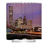 Downtown Houston Texas Skyline Beating Heart Of A Bustling City Shower Curtain by Silvio Ligutti