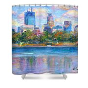 Downtown Minneapolis Skyline From Lake Calhoun Shower Curtain by Quin Sweetman