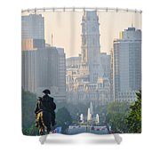 Downtown Philadelphia - Benjamin Franklin Parkway Shower Curtain by Simon Wolter