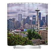 Downtown Seattle From Kerry Park Shower Curtain by Allen Beatty