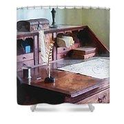 Draftsman - Cartographer's Desk Shower Curtain by Susan Savad