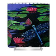 Dragon Fly - Botanical Shower Curtain by Grace Liberator