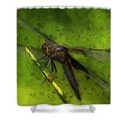 Dragonfly Macro Shower Curtain by Jack Zulli