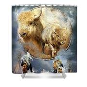 Dream Catcher - Spirit Of The White Buffalo Shower Curtain by Carol Cavalaris