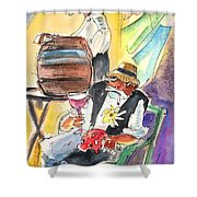 Drinking Wine In Lanzarote Shower Curtain by Miki De Goodaboom