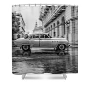 Driving In The Rain Shower Curtain by Erik Brede