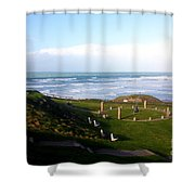 Droskyn Sundial Perranporth Shower Curtain by Terri  Waters