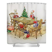 Ducks Christmas Shower Curtain by Kestutis Kasparavicius