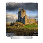 Dunguaire Castle With Dramatic Sky Kinvara Galway Ireland Shower Curtain by Juli Scalzi