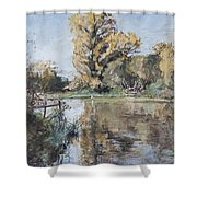 Early Autumn On The River Test Shower Curtain by Caroline Hervey-Bathurst