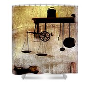 Early Kitchen Tools Shower Curtain by Marcia L Jones