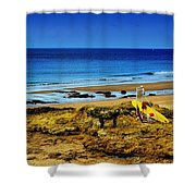 Early Morning On The Beach Shower Curtain by Marco Oliveira
