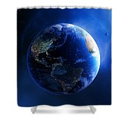 Earth And Galaxy With City Lights Shower Curtain by Johan Swanepoel