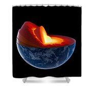 Earth Core Structure - Isolated Shower Curtain by Johan Swanepoel