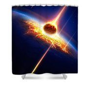 Earth In A  Meteor Shower Shower Curtain by Johan Swanepoel