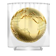 Earth In Gold Metal Isolated - Africa Shower Curtain by Johan Swanepoel