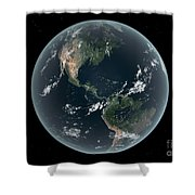 Earths Western Hemisphere With Rise Shower Curtain by Walter Myers