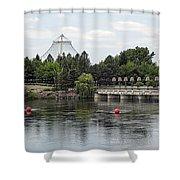 East Riverfront Park And Dam - Spokane Washington Shower Curtain by Daniel Hagerman