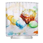 Easter Colors Shower Curtain by Zaira Dzhaubaeva