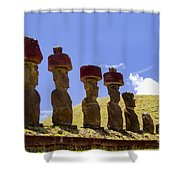 Easter Island Statues  Shower Curtain by David Smith