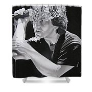 Eddie Vedder Black And White Shower Curtain by Joshua Morton