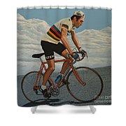Eddy Merckx Shower Curtain by Paul Meijering