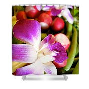Edible Flowers Shower Curtain by Jacqueline Athmann